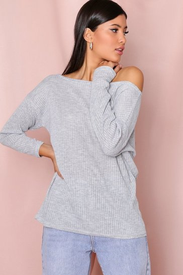 Grey Oversized Long Sleeve Ribbed Top
