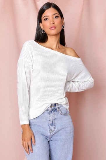 White Oversized Rib Longsleeve Top