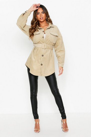Beige Oversized Belted Cord Jacket