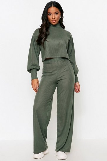 Khaki High Neck Brushed Jumbo Ribbed lounge suit