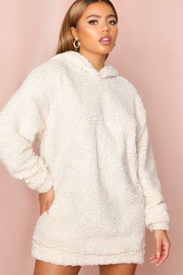 Cream Oversized Hooded Teddy Sweater Dress