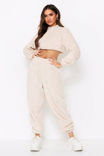 Womens Cream Teddy Oversized Jogger