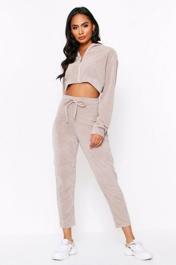 Mink Velour Zip Front Hooded Tracksuit