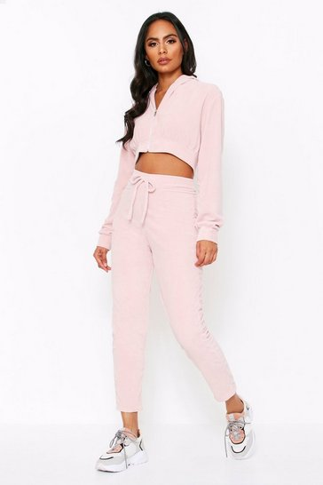 Nude Velour Zip Front Hooded Tracksuit
