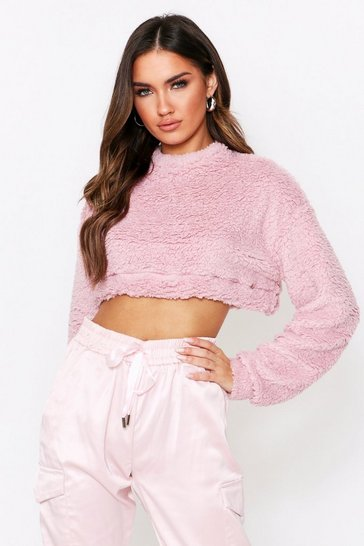 Womens Pink Teddy Crew Neck Crop Sweat