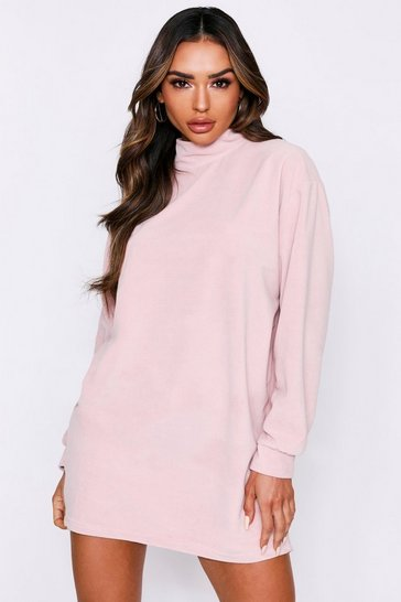 Womens Nude High Neck Velour Oversized Sweater Dress