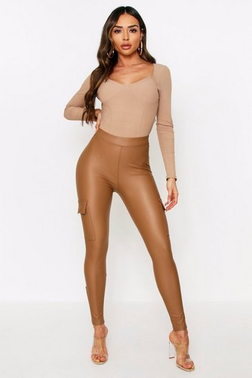 Beige Faux Leather Utility Skinny Pants