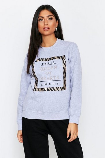 Womens Grey Queen Of Hearts Oversized Sweater