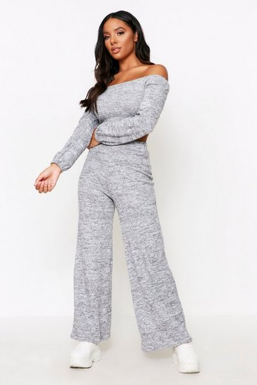Womens Grey Bardot Wide Leg Lounge Set