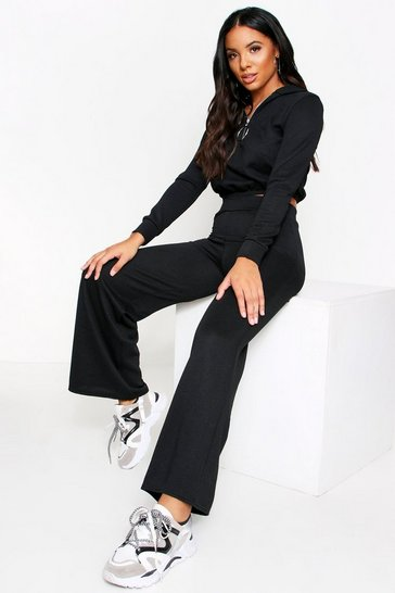 Womens Black Ribbed Zip Detail Wide leg Lounge Set