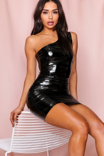 Black One Shoulder Ruched Vinyl Dress