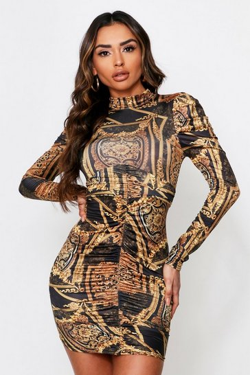 Black High Neck Chain Print Ruched Dress