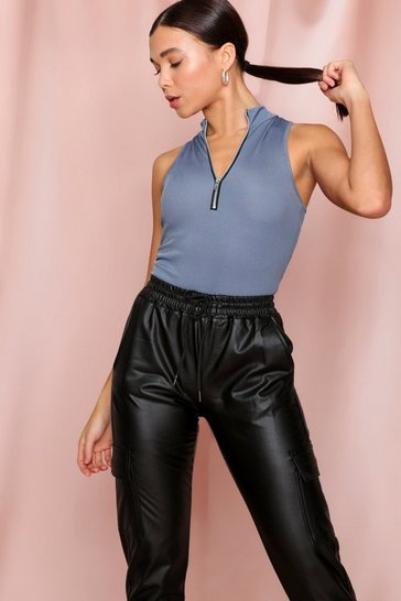 Charcoal Ribbed Zip Front High Neck Bodysuit