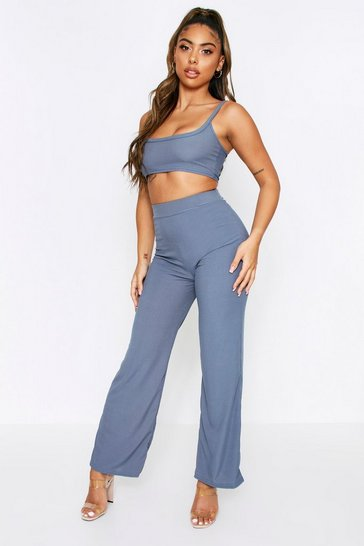 Charcoal Ribbed Cropped Top + Wide Leg Trouser Co-ord