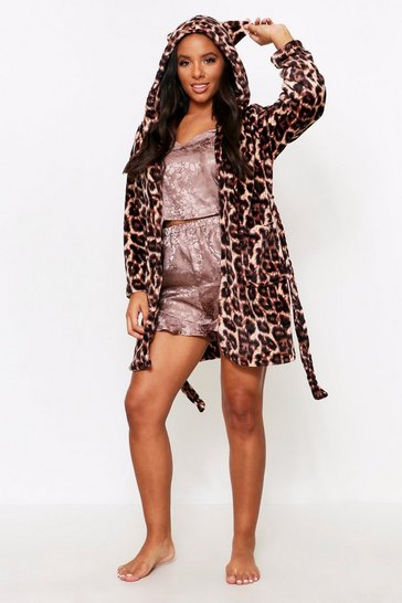 Womens Leopard Print Fluffy Robe