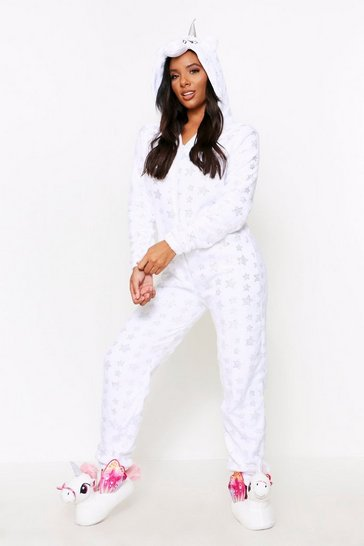 White Star Print Unicorn Onesie
