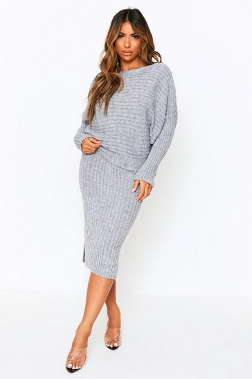 Grey Knitted Oversized Jumper