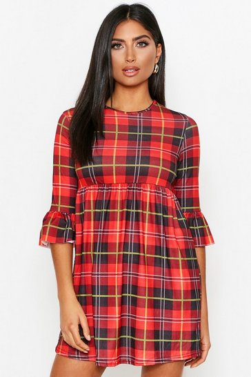 Womens Red Tartan Check Frill Sleeve Smock Dress