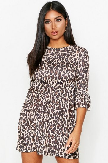 Stone Leopard Print Frill Sleeve Smock Dress