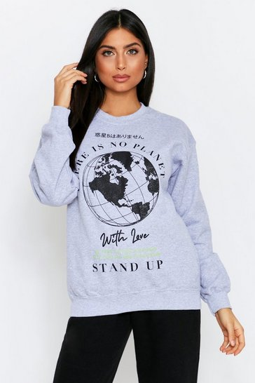 Grey  oversized planet b sweatshirt