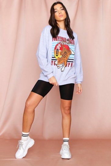 Charcoal oversized retro tiger sweater