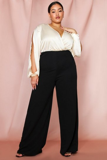 Black crepe wide leg trouser