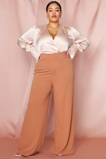 Womens Camel crepe wide leg trouser
