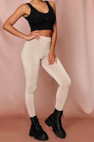 Stone High Waisted Slinky Basic Leggings