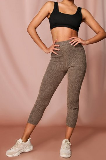 Camel High Waist Crop Ribbed Leggings