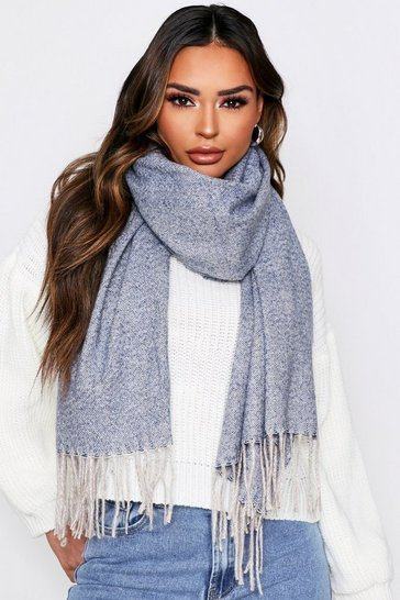 Grey thick blanket scarf