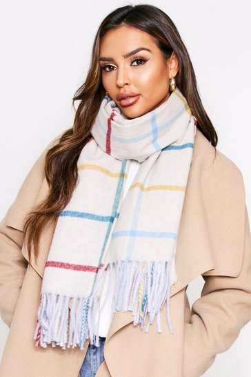 Cream oversized check scarf