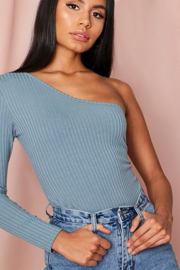Dusty blue Rib One Shoulder Thong Bodysuit