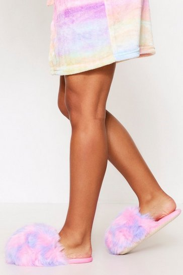 Pink Multi Dome Faux Fur Slipper