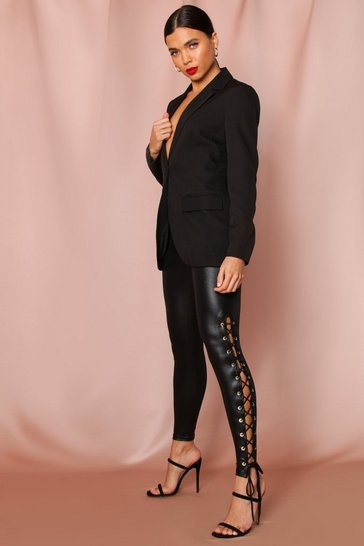 Black Side Lace Up Leather look Pants