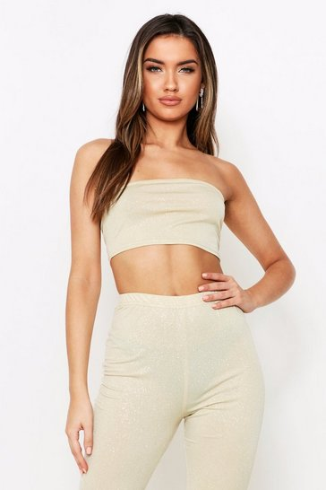 Womens Gold Glitter Bandeau Top