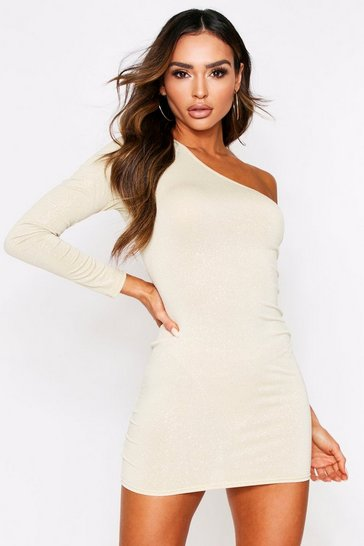 Womens Gold Glitter One Shoulder Bodycon Dress
