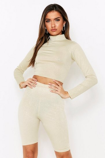 Womens Gold Glitter High Neck Cropped Top