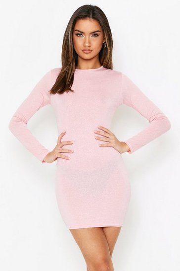 Womens Pink Glitter Scoop Neck Long Sleeve Mini Dress