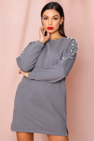 Grey Pearl Embellished Acid Wash Sweater Dress