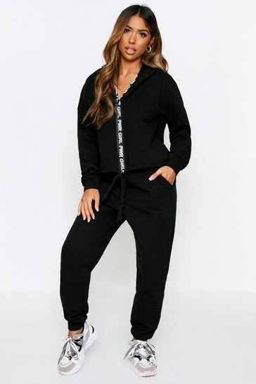 Black Girl power zip front lounge set