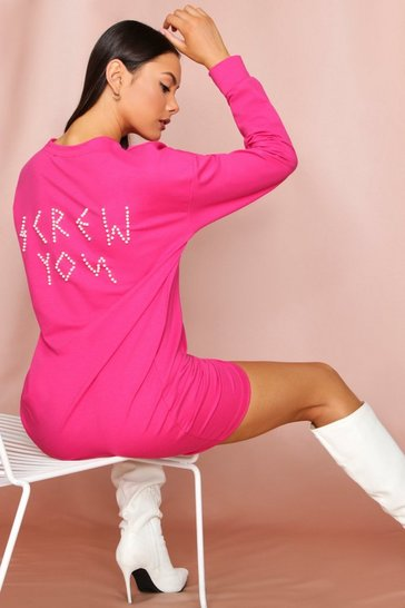 Pink Screw You Pearl Embellished Sweater Dress