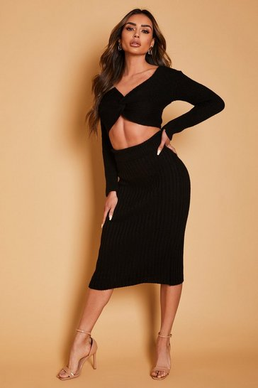 Black Twist Front Knitted Jumper & Skirt Co Ord