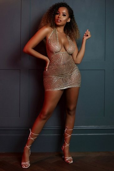 Womens Gold Glitter Mesh Halterneck Mini Dress