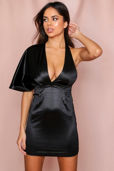 Black Satin One Shoulder Drape Mini Dress
