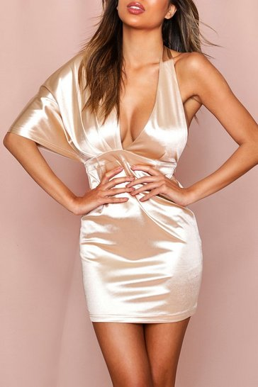 Champagne Satin One Shoulder Drape Mini Dress