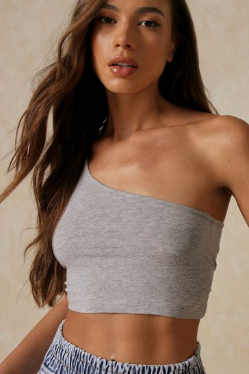 Grey One Shoulder Sleeveless Vest Crop Top