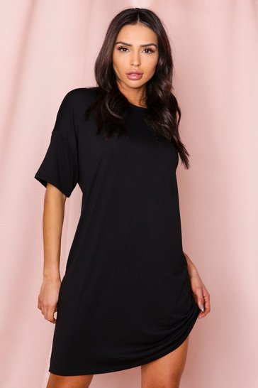 Black drop armhole t-shirt dress