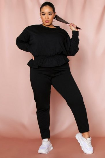Black frill hem sweat and legging set