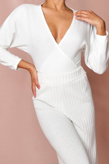 Ivory Wrap Front Ribbed Thong Bodysuit