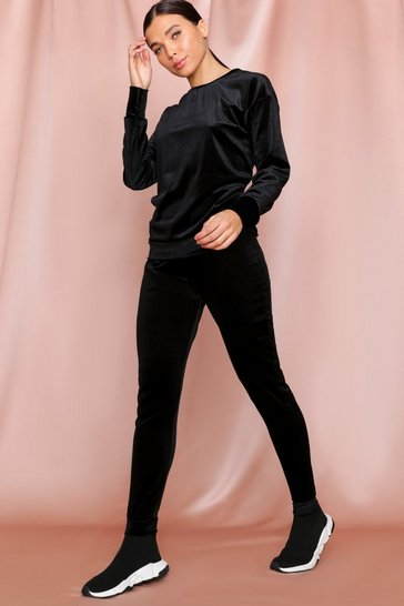 Black Velvet Top + Sweat Pant Set